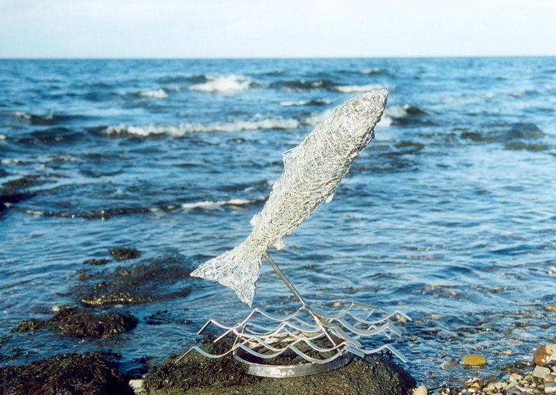 10. Wire  salmon leaping from the waves