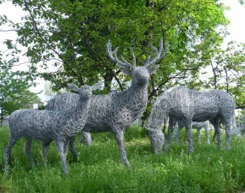 13. Wire deer in the meadow at Chelsea Flower Show