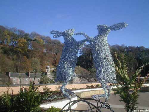 20. Wire boxing hares on a steel ball at New Lanark Sculpture Park 2007