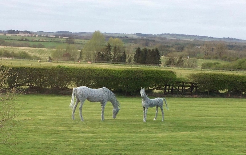 56. Wire mare and foal sculptures installed in new home, 2020.