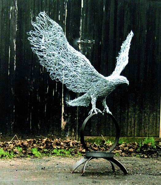 Wire bird sculptures in galvanised steel, bronze copper wire and ...
