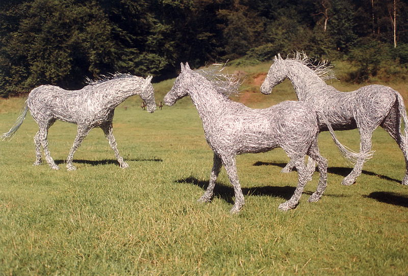 34.  A meeting of three horses in galvanised steel wire 1997