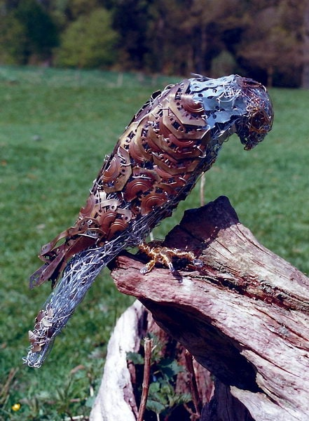 8. Kestrel sculpture made with antique brass furniture fittings, 1999
