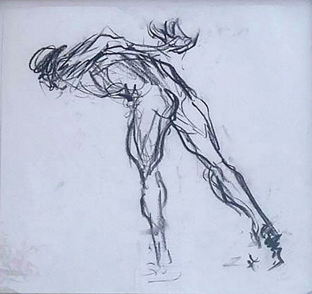 11. Figure bent double (Charcoal on paper)