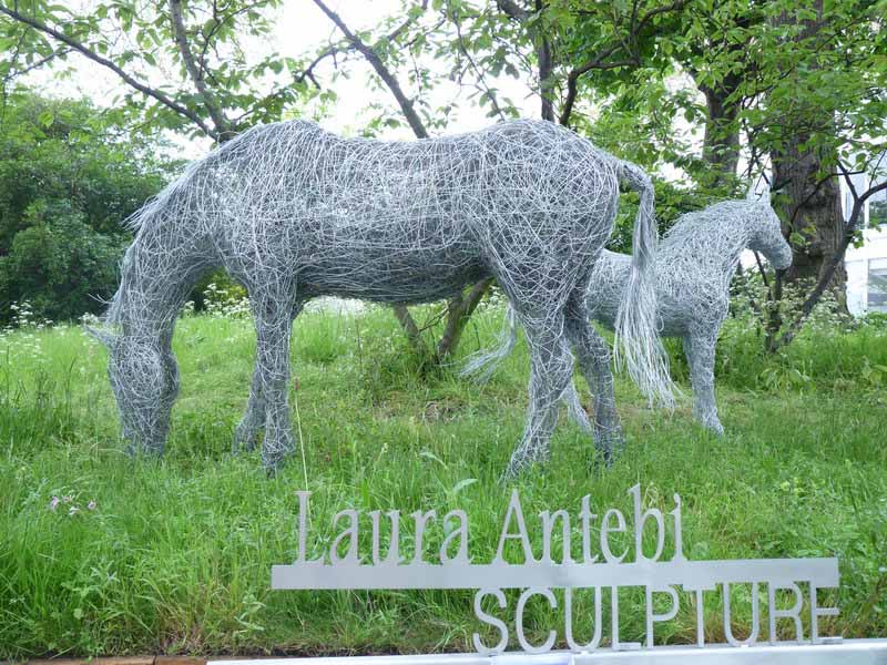 14. Wire mare and foal on the bank at Chelsea Flower Show 2012