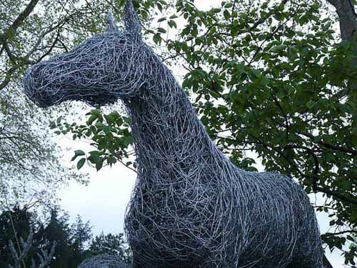 37. Horse in wire under the trees at Chelsea Flower Show 2013