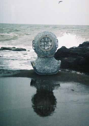 2. Wire diving helmet at the water's edge