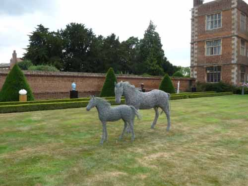 15. Mare and foal in galvanised steel wire on show in the beautiful courtyard of Doddington Hall