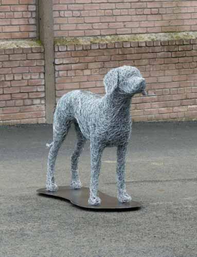 7. Wire dog sculpture in progress