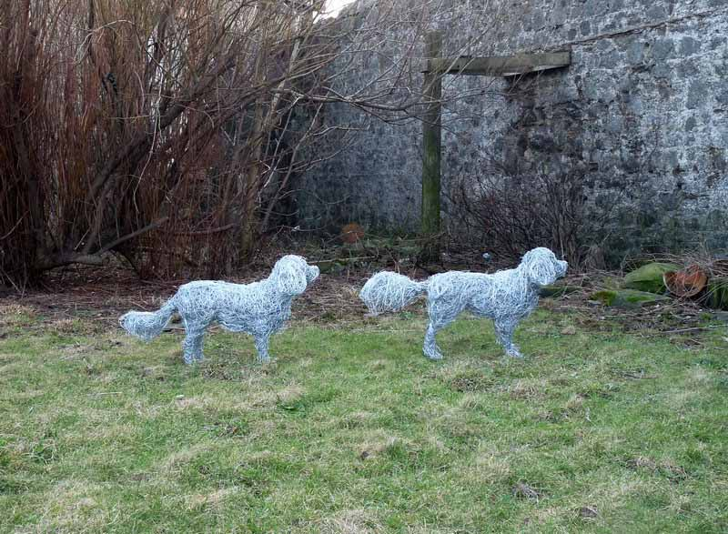 13. Commission in progress King Charles Spaniels wire dog sculptures