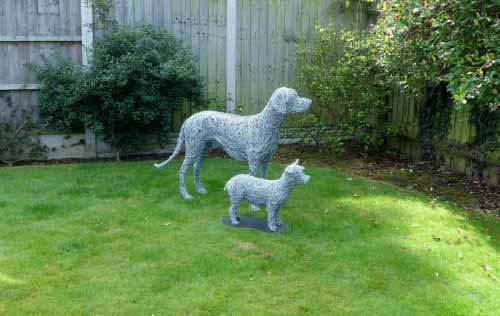 8. Garden sculpture, two wire dogs best of friends