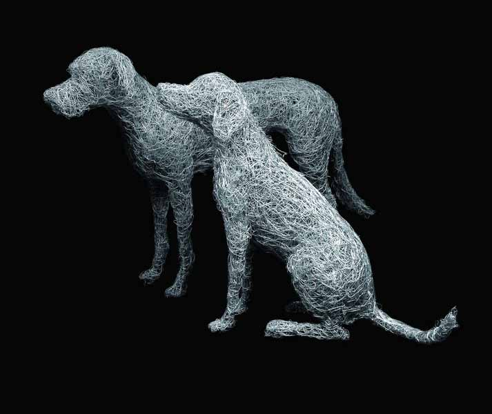 Wire dog sculptures for your home and garden in galvanised steel ...