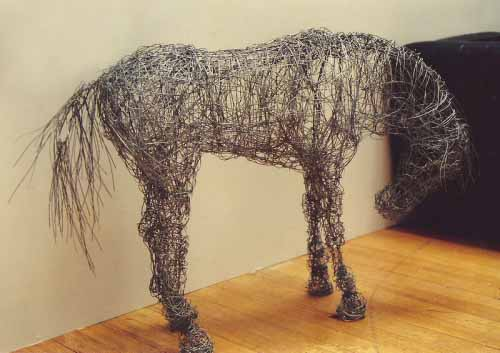 21. My first wire horse sculpture at McLellan Galleries, Glasgow 1994