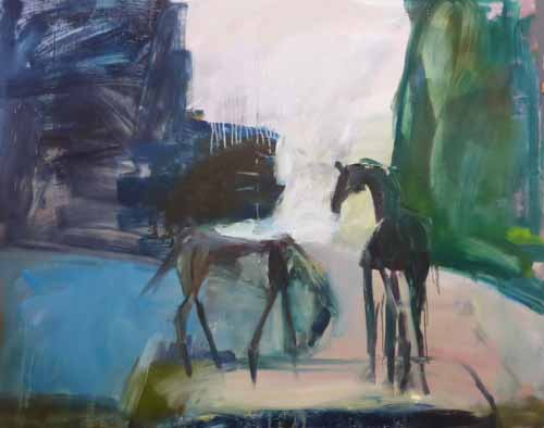 15. Horses at the water's edge, painting (Oil on board)
