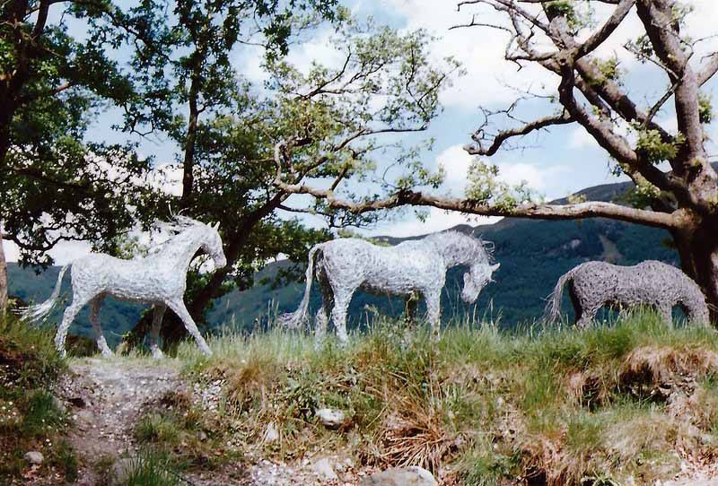 30. Three wire horse sculptures made with cable wire at Loch Lomond