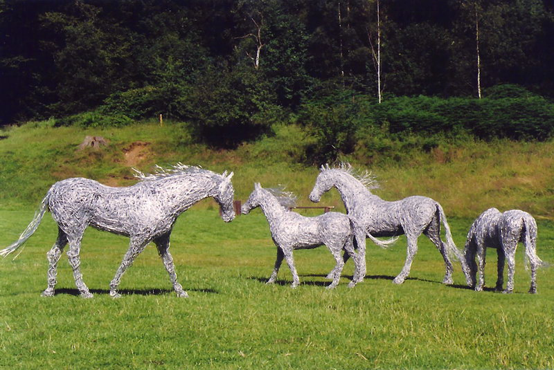 42. A collection of wire horses at Drumlanrig Castle