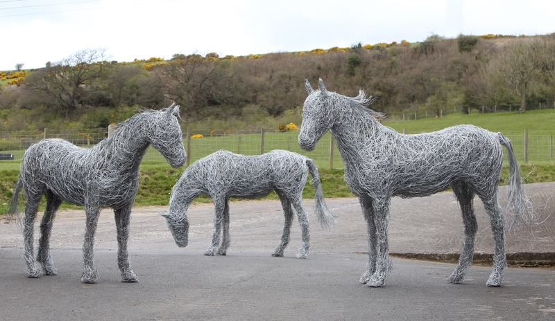 52. Three  horses, equine sculpture in galvanised steel wire