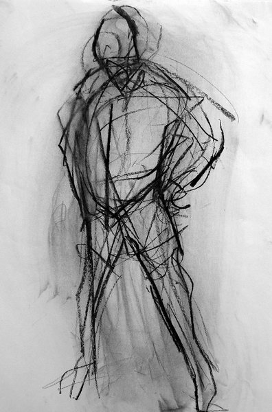3. Life Drawing (Charcoal on paper)