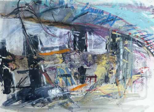 20. M74 Bridge Collage (Mixed media on paper)