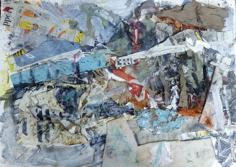 22. M74 Bridge Collage (Mixed media on paper)