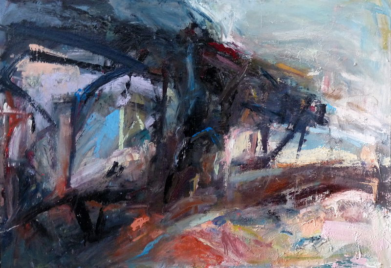 27. M74 Bridge Collage (Oil on board)