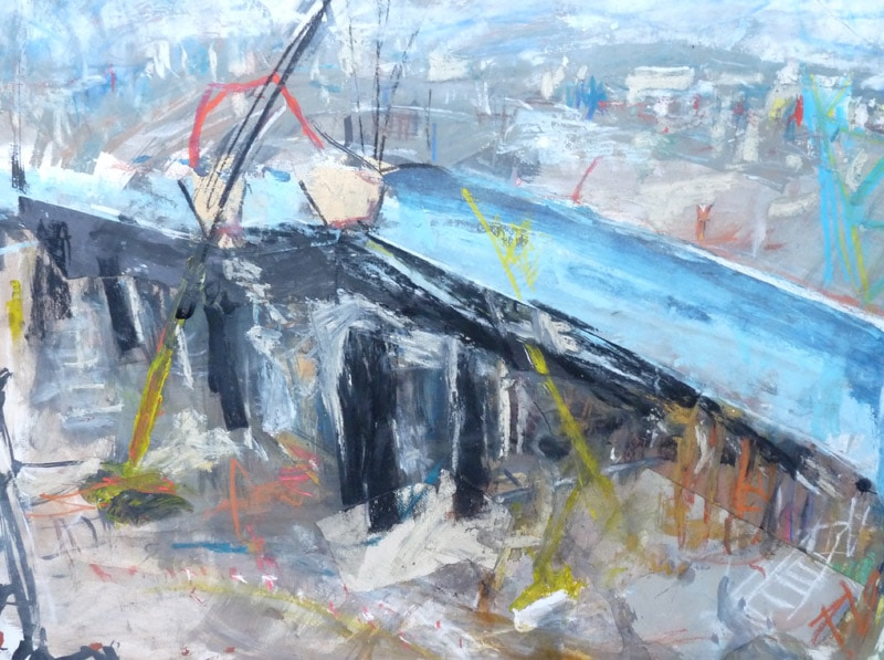 24. M74 Bridge Collage (Mixed media on paper)