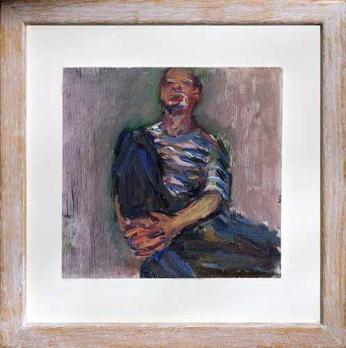 2. Man in blue trousers figurative painting (oil on board)