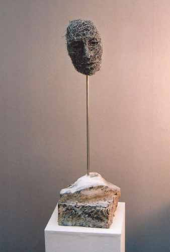 9. Mask wire sculpture, 2001 (wire and plaster)