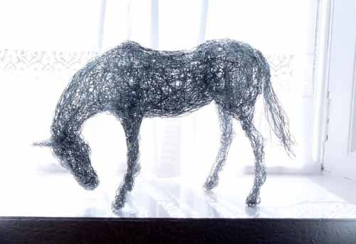 2. Miniature wire horse in the light