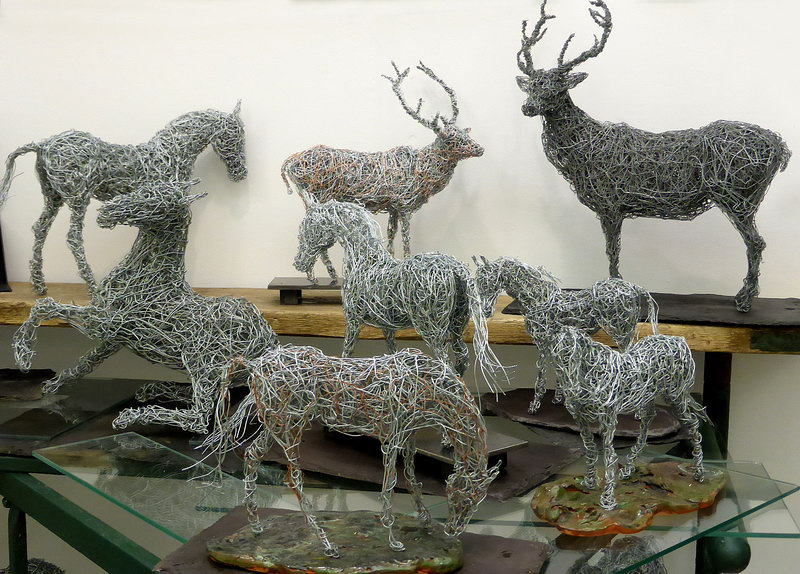 4. Miniature equine and wildlife wire sculptures on display Chelsea 2014