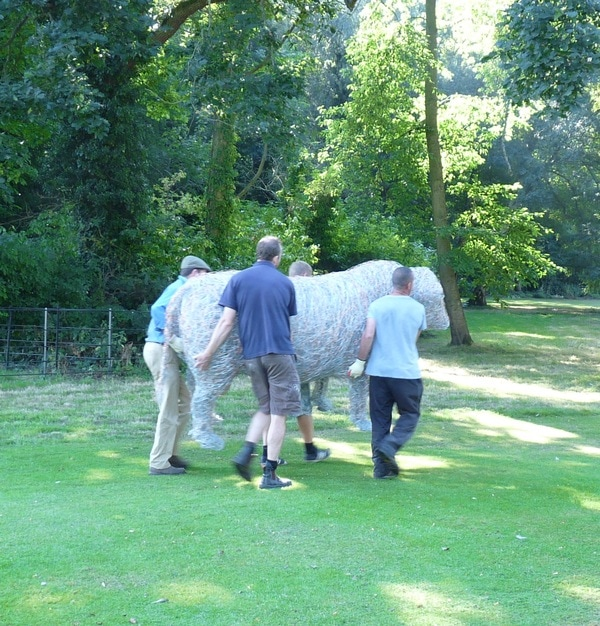 10. On arrival, installation day, wire bull sculpture