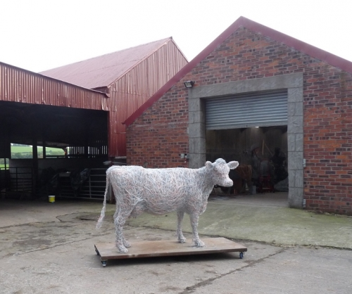 7. Jersey cow sculpture in galvanised steel and recycled copper wire