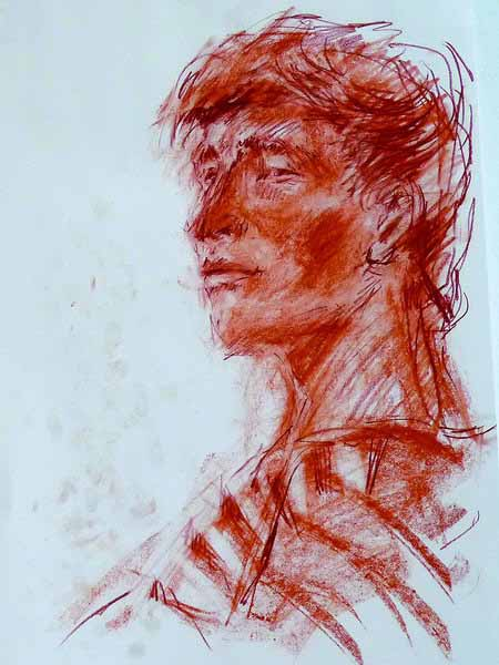 5. Portrait drawing of a young man (chalk on pastel paper)