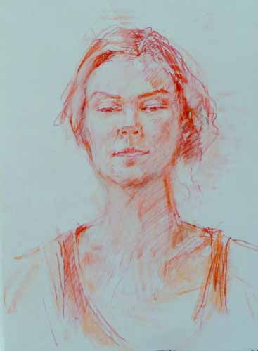 3. sketch of a woman (chalk on pastel paper)