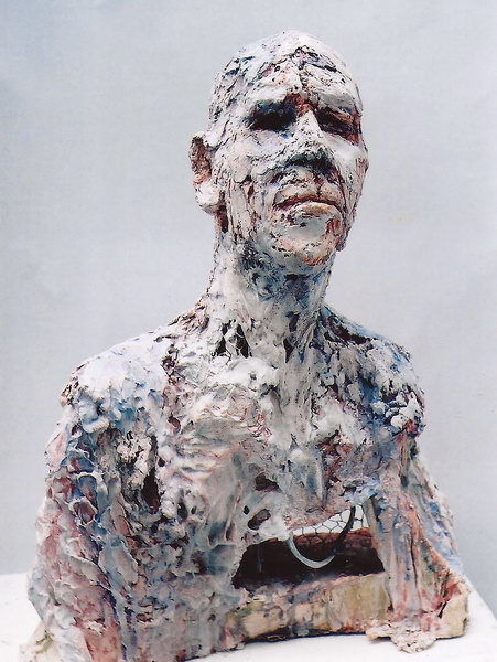 3. Portrait of a man (plaster, steel and recycled materials)