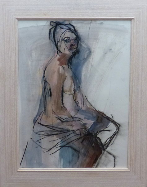 6. Seated woman figurative painting (chalk and watercolour on paper)