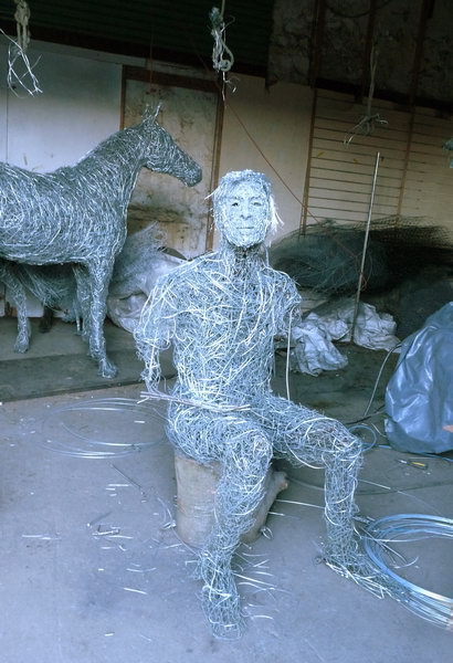 4. Wire man sculpture in progress