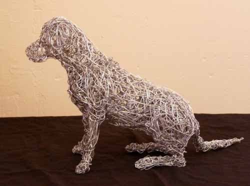16. Miniature sitting wire dog commission 2002