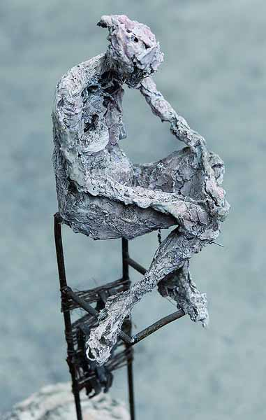 1. Seated figure (plaster, steel and recycled materials)