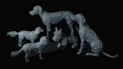 12. The Pack, wire dog sculptures in the studio in preparation  for the Chelsea Flower Show 2016