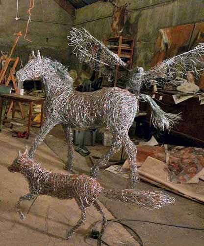 The fox, the foal and the eagle, wire sculptures in progress, 2014