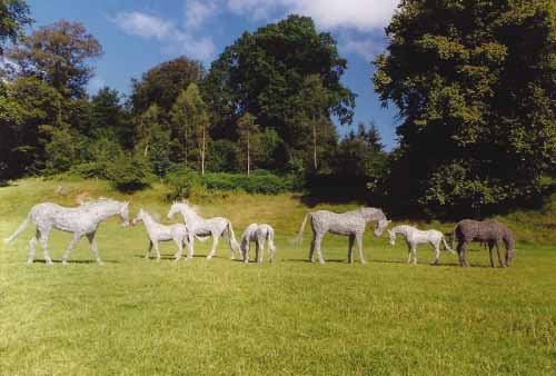 13. A field of wire horses at Drumlanrig Castle