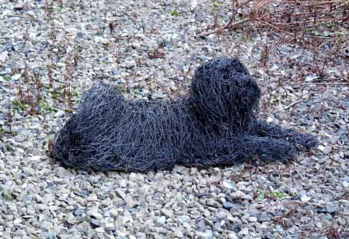 6. Commissioned portrait of a Tibetan Terrier , galvanised steel wire painted black, 2005