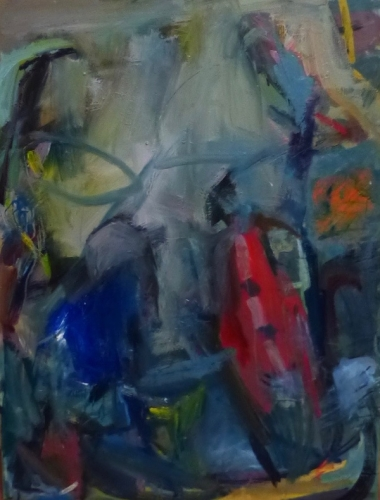 77. 'Abstract in Blue' ,  painting , oil on canvas .