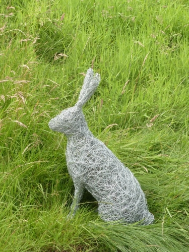 44. Meadow Hare, wire hare sculpture.