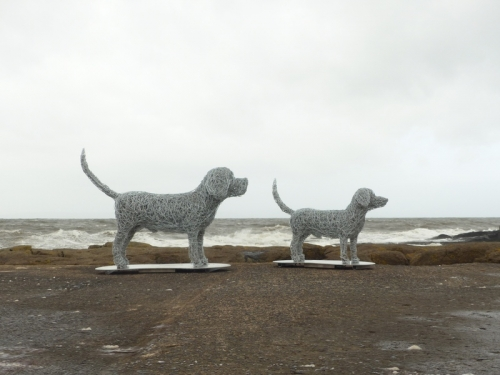 27. Dogs at the seaside, wire dog sculptures, commission 2020.