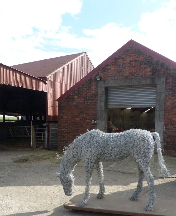 5. SOLD Grazing horse sculpture in galvanised steel