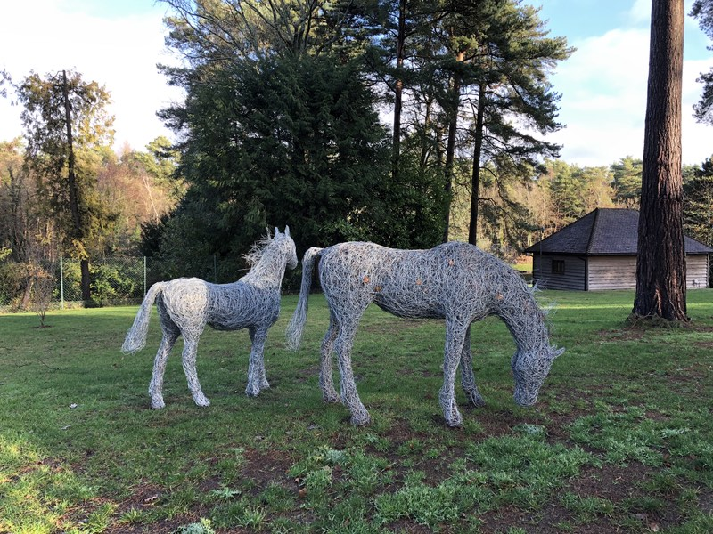 88. Wire sculptures grazing horse and foal.