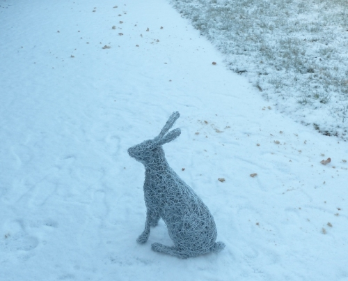 34. Winter Hare wire sculpture.
