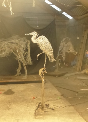 33. Heron perched in the studio, wire heron sculpture in progress 2021.
